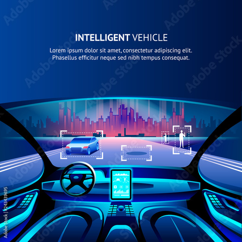 Intelligent Vehicle Cockpit. Vector Illustration.