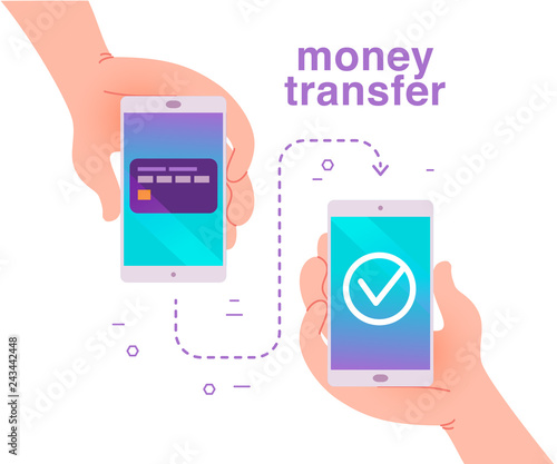 Vector flat illustration for mobile money transfer with