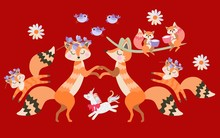The Foxes Parents Hold Hands, And The Foxes Children And Small Unicorn Are Merrily Jumping Around Them. Little Squirrels Sit In The Brim Of A Hat And Drink Milk From Cups. Fairy Illustration.