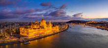 Budapest, Hungary - Aerial Pan...