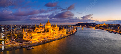Budapest, Hungary - Aerial panoramic view of the beautiful illuminated Parliamen Canvas Print