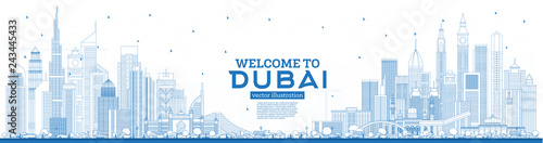 Fototapeta premium Zarys Witamy w Dubaju ZEA Skyline z Blue Buildings.