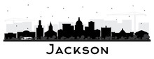 Jackson Mississippi City Skyline Silhouette With Black Buildings Isolated On White.