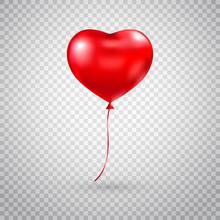 Heart Balloon. Red Heart Gloss...