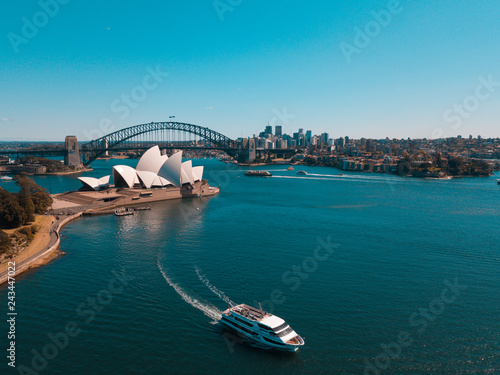 Garden Poster Sydney January 10, 2019. Sydney, Australia. Landscape aerial view of Sydney Opera house near Sydney business center around the harbour.