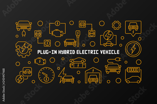 Leinwand Poster Plug-in hybrid electric vehicle vector horizontal illustration in thin line style