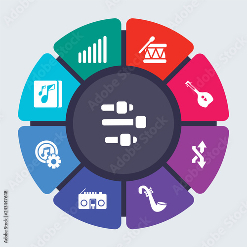 music vector template for infographics  Business concept with 9