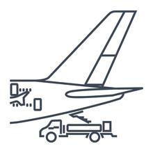 Thin Line Icon Airplane On Ser...