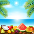 tropical fruit put on the Wooden balcony near the Beach by the sea for Summer season, vector illustration