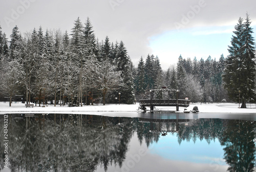 Foto auf Leinwand Grau winter lake in France village Samoens