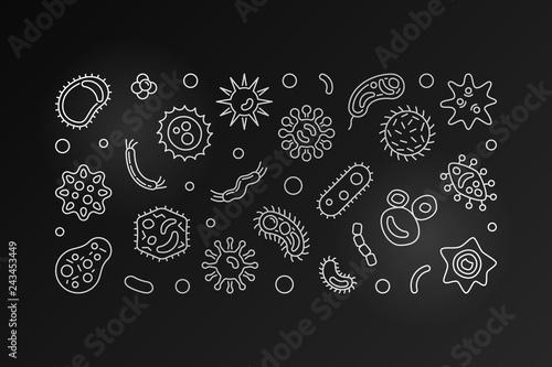 Photo Bacterial cells dark horizontal banner