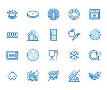 Utensil Flat Line Icons Set. G...