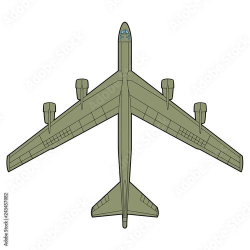 Fotomural B-52 bomb plane top view illustration