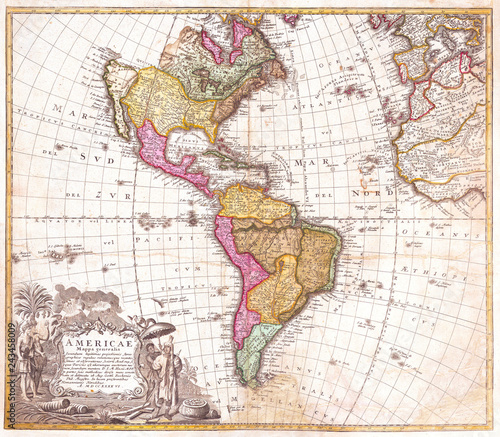 Recess Fitting World Map Old Map of South and North America 1746, Homann Heirs