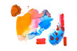 Abstract watercolor yellow, brown, blue, red and pink spills isolated on white