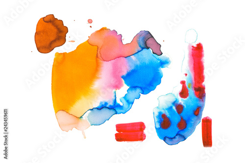 Fototapety, obrazy: Abstract watercolor yellow, brown, blue, red and pink spills isolated on white
