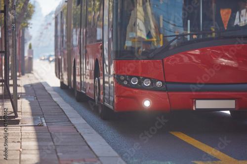 Canvastavla Public transportation / bus in urban surroundings on a station.