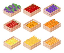 Set Of Isometric Box With Fruits And Vegetables On White Background. Apple, Pear, Eggplant, Lemon, Grapes, Tomato, Carrots, Corn In Containers For Sale. Vector Illustration