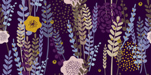 Trendy Spring Floral Pattern. Hand-drawn Vector Illustration. Lavender Flowers On Purple Background. Seamless Ornament For Decor, Wallpaper, Gift Paper, Souvenir And Patchwork Design