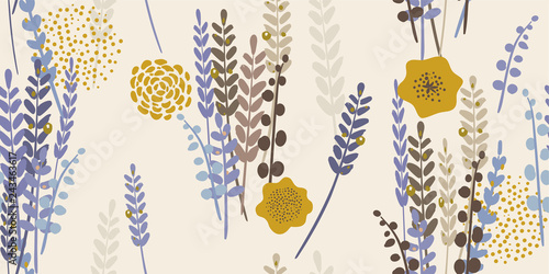 Modern Floral Lavender Pattern Fototapeta
