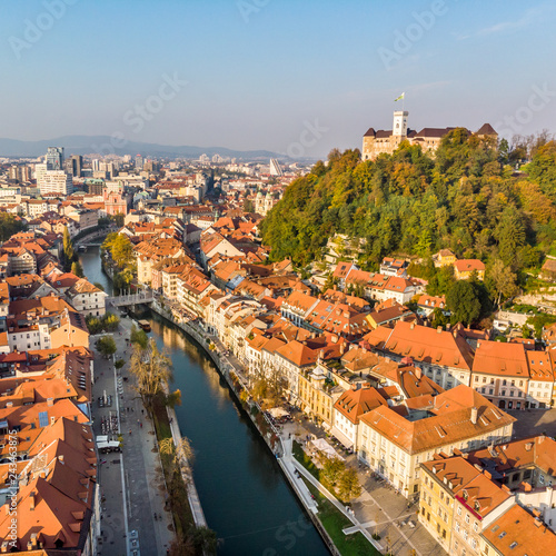 Poster Centraal Europa Aerial panoramic view of Ljubljana, capital of Slovenia in warm afternoon sun.