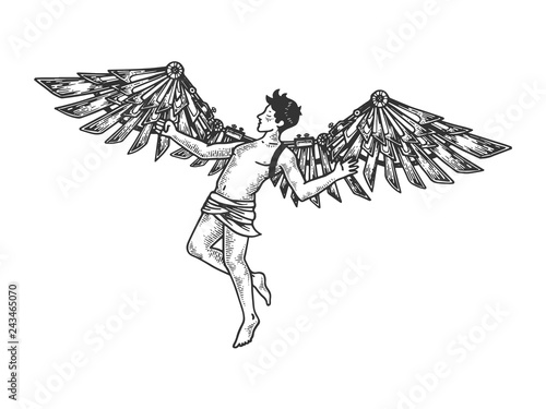 Canvastavla Icarus with mechanical wings Greek mythology engraving vector illustration