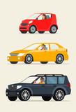 Red сompact city car, red sedan car and black suv car. Vector flat illustration
