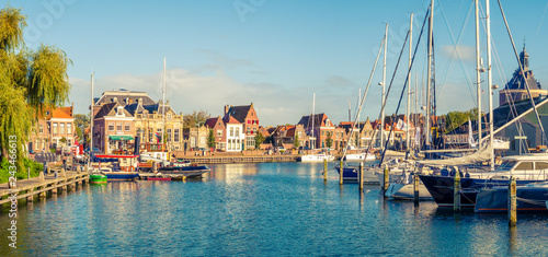 Obraz Panorama of old harbour and quayside in historic city of Enkhuizen, North Holland, Netherlands - fototapety do salonu