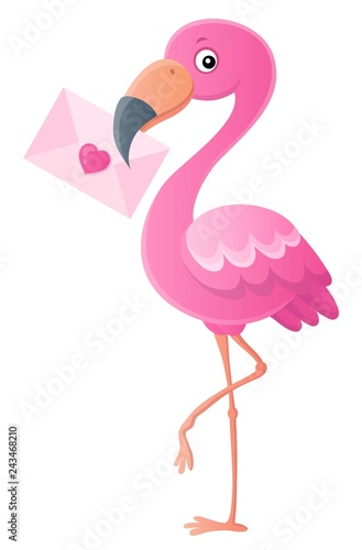 Foto op Aluminium Voor kinderen Flamingo with love letter topic 1