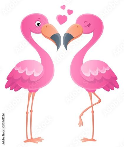 Tuinposter Voor kinderen Valentine flamingos topic image 1