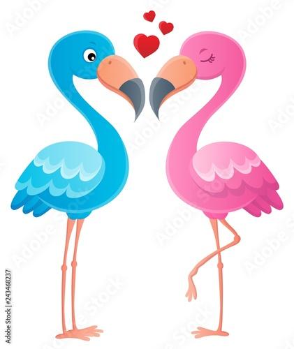 Tuinposter Voor kinderen Valentine flamingos topic image 2