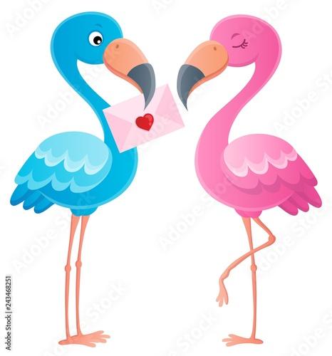Tuinposter Voor kinderen Valentine flamingos topic image 3