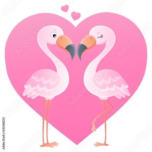 Tuinposter Voor kinderen Valentine flamingos topic image 4