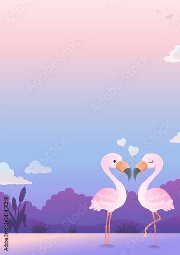 Tuinposter Voor kinderen Valentine flamingos topic image 6