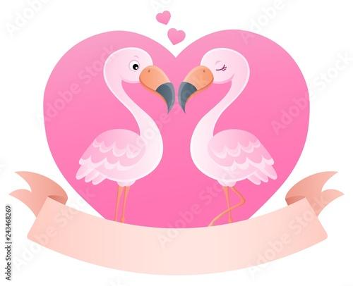 Tuinposter Voor kinderen Valentine flamingos topic image 5