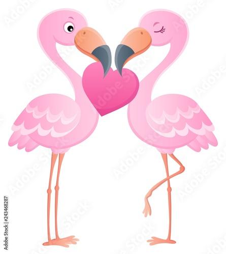 Tuinposter Voor kinderen Valentine flamingos topic image 7