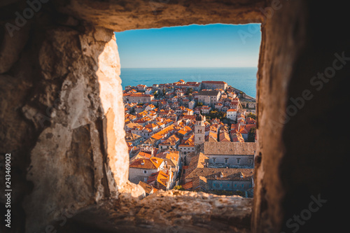Poster Centraal Europa Old town of Dubrovnik at sunset, Dalmatia, Croatia