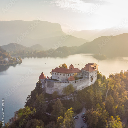 In de dag Europese Plekken Aerial view of medieval castle by the lake Bled in Slovenia. Beautiful nature of Slovenia in fall.