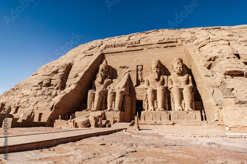 Fototapeta  Panoramic view with the entrance to Abu Simbel Great Temple in Aswan Egypt