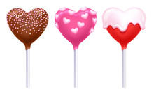 Valentine's Day Lollipops Cake Pops Set Vector Illustration.