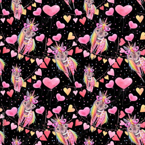Watercolor seamless funny pattern for Valentine's Day with unicorns and balloons.  Children's wallpaper.