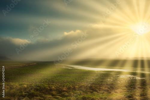 Sonnenstahlen w krajobrazie mgły