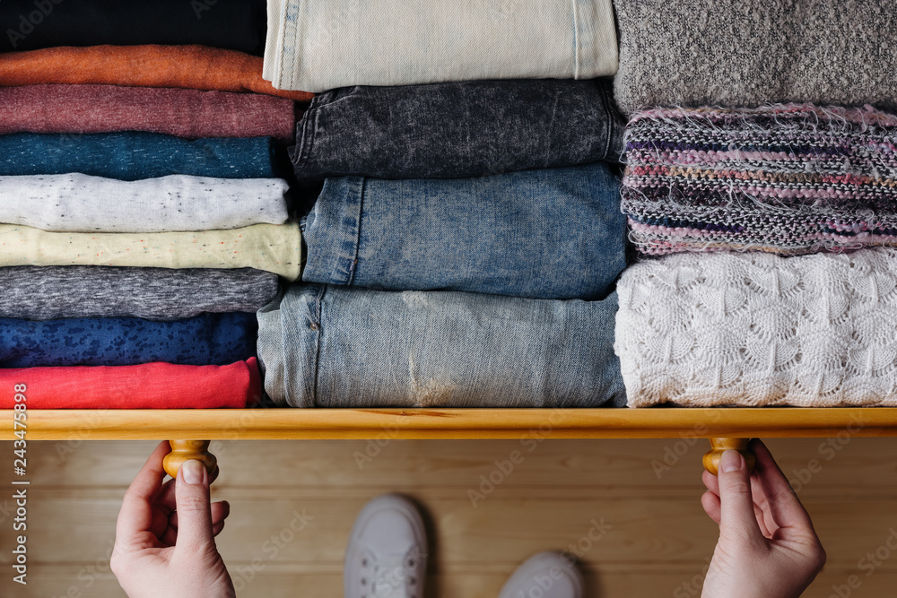 Fototapety, obrazy: Neatly ordered clothes in drawer
