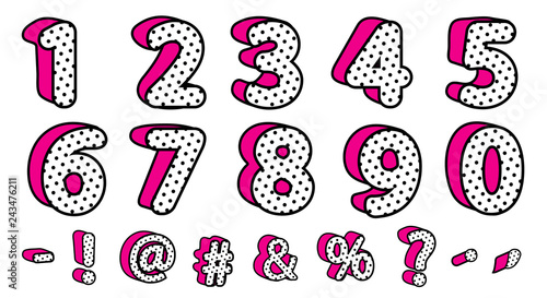 Valokuva Cute black polka dots 3D set of numbers and signs