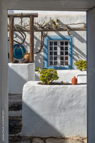 Typical courtyard interior the white house in Lanzarote, Canary Islands