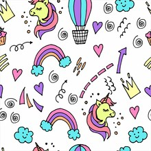 Seamless Pattern Children S Dudling For Girls, With Unicorns, Clouds, Rainbows And Hearts. Children's Background For The Design Of Textiles, Wallpaper, Packaging.