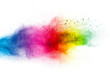 Color dust splash cloud on white background. Launched colorful particles on background.