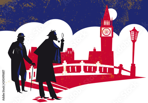 Photo Sherlock Holmes. Detective, vector illustration