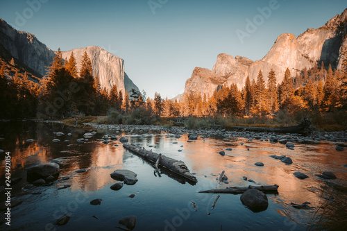 Wall Murals United States Yosemite National Park at sunset, California, USA