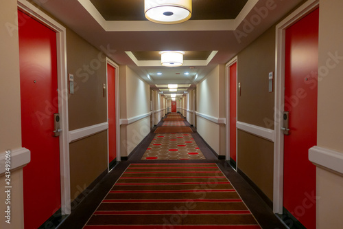 POV of walking in long corridor Canvas Print